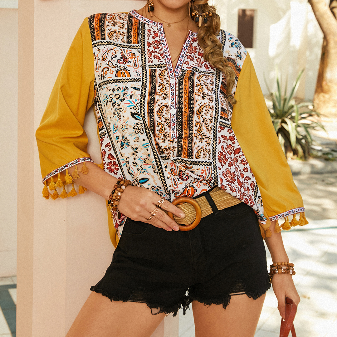 Bohemian Print Tassel Long Sleeves V-neck Blouse For Women