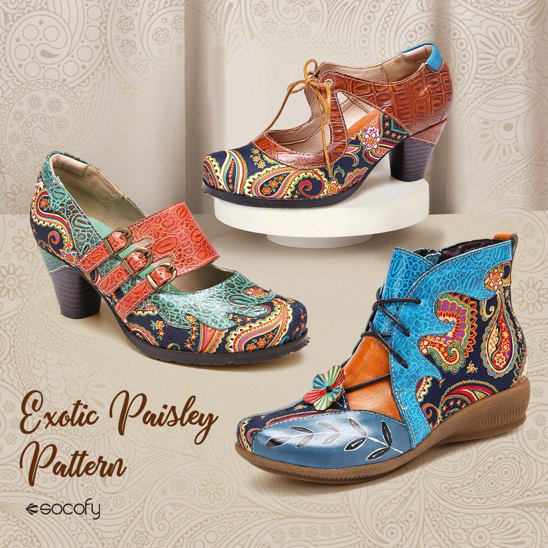 SOCOFY Paisley Shoes — Is paisley in style 2021?