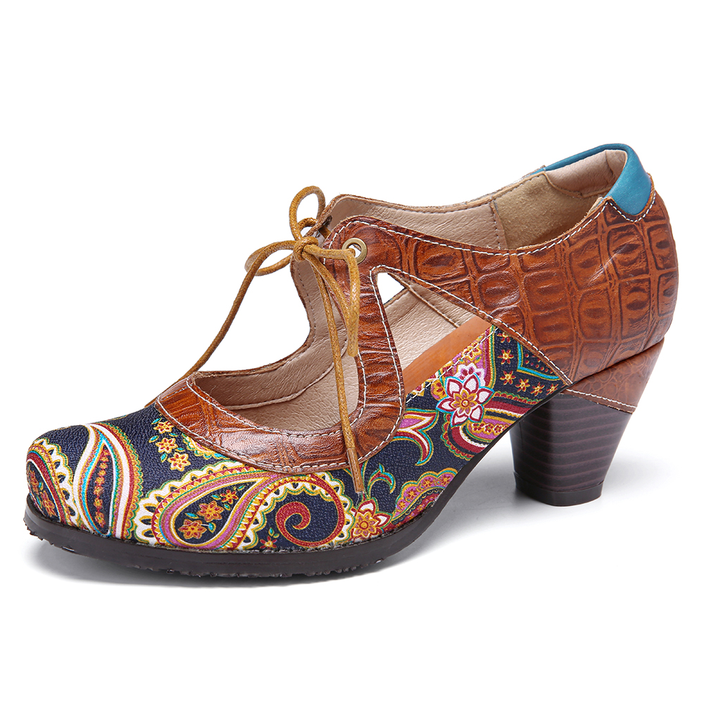 SOCOFY Paisley Shoes Splicing Leather Cutout Lace-up Chunky Pumps