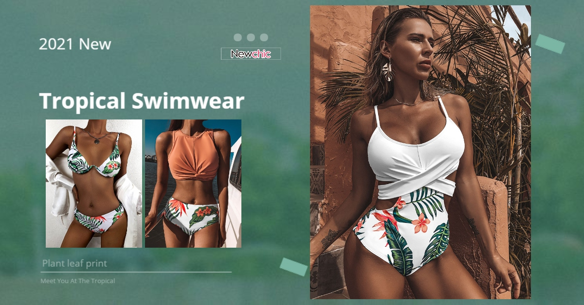 Newchic Tropical Printed swimsuit